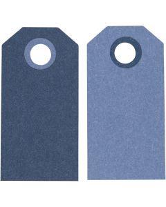 Etiquetas de regalo, medidas 6x3 cm, 250 gr, azul oscuro/claro, 20 ud/ 1 paquete
