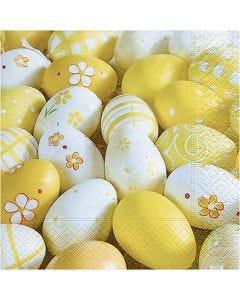 Servilletas, Huevos decorados, medidas 33x33 cm, 20 ud/ 1 paquete