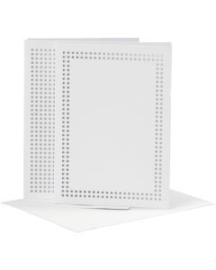 Tarjeta para bordar, medida tarjeta 10,5x15 cm, medida sobre 11,5x16,5 cm, blanco, 6 ud/ 1 paquete