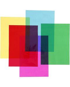 Celofán, 210x297 mm, surtido de colores, 5x20 hoja/ 1 paquete