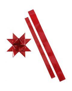 Tiras de estrellas, L. 86+100 cm, dia: 11,5+18,5 cm, A: 25+40 mm, rojo, rojo purpurina, 16 tiras/ 1 paquete