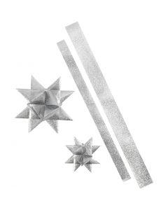 Tiras de estrellas, L. 86+100 cm, dia: 11,5+18,5 cm, A: 25+40 mm, plata con purpurina, 16 tiras/ 1 paquete