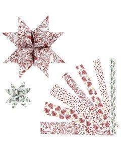Tiras de papel para estrellas, L. 44+78 cm, dia: 6,5+11,5 cm, A: 15+25 mm, rojo, blanco, 48 tiras/ 1 paquete