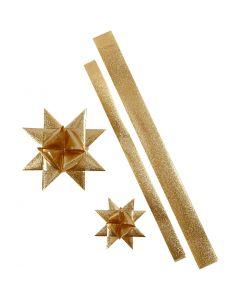 Tiras de estrellas, L. 86+100 cm, dia: 11,5+18,5 cm, A: 25+40 mm, dorado purpurina, 16 tiras/ 1 paquete