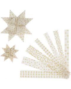 Tiras de papel para estrellas, L. 44+78 cm, dia: 6,5+11,5 cm, A: 15+25 mm, dorado, blanco, 48 tiras/ 1 paquete