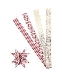 Tiras de estrellas de papel, L. 100 cm, dia: 18 cm, A: 40 mm, dorado, rojo, blanco, 40 tiras/ 1 paquete