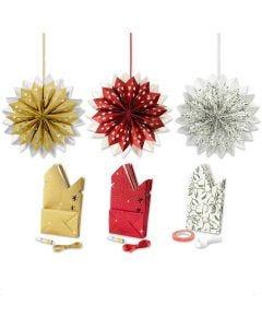 Estrella con bolsas de papel, dorado, verde, rojo, blanco, 3x10 paquete/ 1 paquete