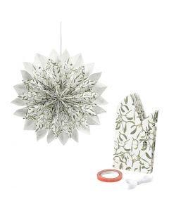 Estrella con bolsas de papel, 80 gr, verde, blanco, 1 set