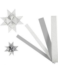 Tiras de papel para estrellas, L. 44+78 cm, dia: 6,5+11,5 cm, A: 15+25 mm, purpurina,barniz, plata, 40 tiras/ 1 paquete