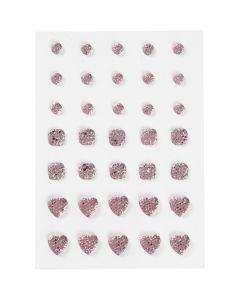Rocalla, Redonda, cuadrado, corazón, medidas 6+8+10 mm, rosado, 35 ud/ 1 paquete