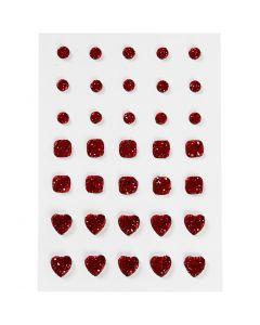 Rocalla, Redonda, cuadrado, corazón., medidas 6+8+10 mm, rojo, 35 ud/ 1 paquete