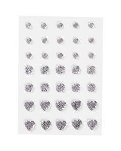 Rocalla, Redonda, cuadrado, corazón, medidas 6+8+10 mm, plata, 35 ud/ 1 paquete