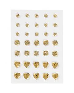 Rocalla, Redonda, cuadrado, corazón, medidas 6+8+10 mm, dorado, 35 ud/ 1 paquete