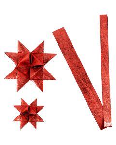 Tiras de estrellas de papel, L. 44+78 cm, dia: 6,5+11,5 cm, A: 15+25 mm, rojo, 32 tiras/ 1 paquete