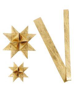Tiras de estrellas de papel, L. 44+78 cm, dia: 6,5+11,5 cm, A: 15+25 mm, dorado, 32 tiras/ 1 paquete