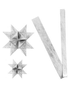 Tiras de estrellas de papel, L. 44+78 cm, dia: 6,5+11,5 cm, A: 15+25 mm, plata, 32 tiras/ 1 paquete