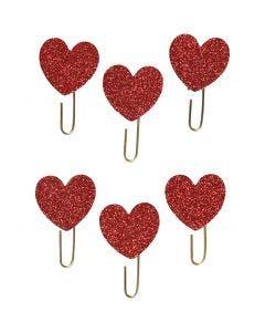 Clips metálicos, Corazón, dia: 30 mm, rojo purpurina, 6 ud/ 1 paquete