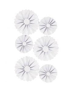 Rosetas de papel, dia: 35+50 mm, blanco purpurina, 6 ud/ 1 paquete