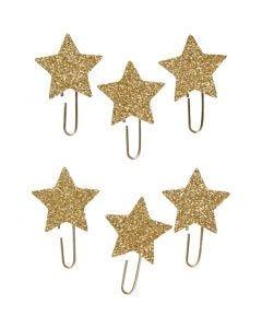 Clips metálicos, Estrella, dia: 30 mm, dorado purpurina, 6 ud/ 1 paquete