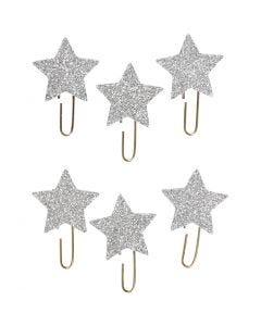 Clips metálicos, Estrella, dia: 30 mm, plata con purpurina, 6 ud/ 1 paquete