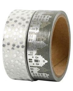 Cinta adhesiva, casas y topos - metalizado, A: 15 mm, plata, 2x4 m/ 1 paquete