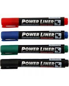 Power liner, negro, azul, verde, rojo, 4 ud/ 1 paquete