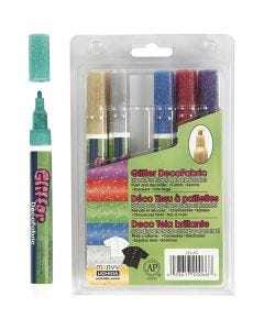 Rotulador de purpurina para tela, trazo ancho 3 mm, colores con purpurina, 6 ud/ 1 paquete