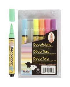 Rotulador de purpurina para tela, trazo ancho 3 mm, colores neón, 6 ud/ 1 paquete