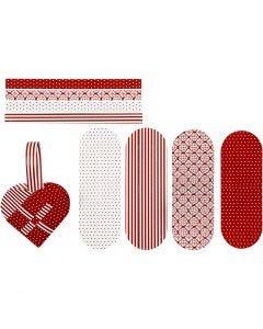 Corazones trenzados, medidas 14,5x10 cm, 120 gr, rojo, blanco, 8 set/ 1 paquete