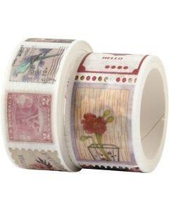 Washi tape, L. 3+5 m, A: 20+25 mm, 2 rollo/ 1 paquete