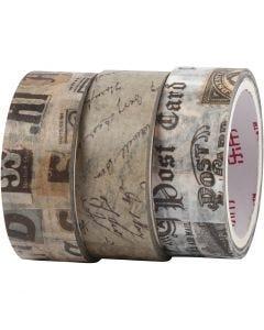 Washi tape, L. 5 m, A: 15 mm, 3 rollo/ 1 paquete