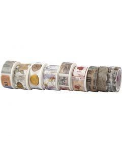 Washi tape, L. 3+5 m, A: 15+25 mm, 9 rollo/ 1 paquete