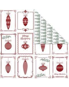 Papel estampado, Bolas y árbol de Navidad, 30,5x30,5 cm, 180 gr, 5 hoja/ 1 paquete