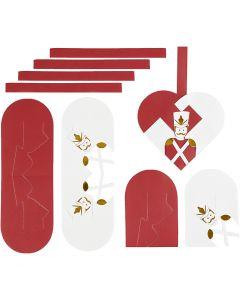Corazones trenzados, medidas 12,5x11,5 cm, dorado, rojo, blanco, 8 set/ 1 paquete