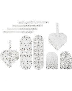 Corazones trenzados, medidas 12,5x11,5 cm, 120 gr, plata, blanco, 8 set/ 1 paquete