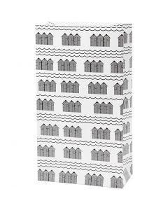 Bolsas de papel, A: 21 cm, medidas 6x12 cm, 80 gr, negro, blanco, 8 ud/ 1 paquete