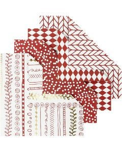 Papel Origami, medidas 10x10 cm, 80 gr, rojo, 40 hoja/ 1 paquete