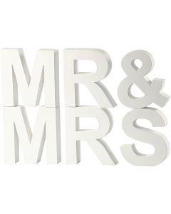 Letras, MR&MRS, A: 17,5 cm, profundidad 4,5 cm, blanco, 1 set