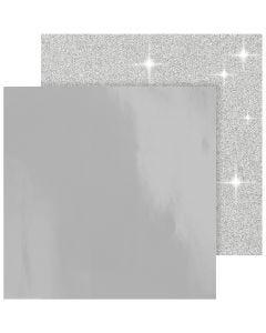 Papel estampado, 30,5x30,5 cm, 120+128 gr, plata, 2 hoja/ 1 paquete