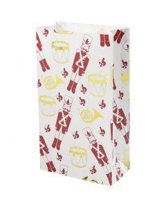 Bolsas de papel, Cascanueces, A: 21 cm, medidas 6x12 cm, dorado, rojo, blanco, 8 ud/ 1 paquete