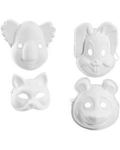 Máscaras, A: 17-25 cm, A: 18-24 cm, blanco, 4x3 ud/ 1 paquete