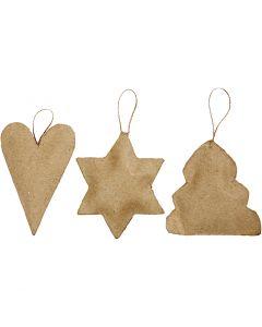 Decoraciones navideñas, corazón, estrella, árbol de navidad, medidas 8-9 cm, 9 ud/ 1 paquete
