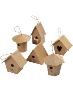 Casas de pájaros mini, A: 7 cm, 6 ud/ 1 paquete