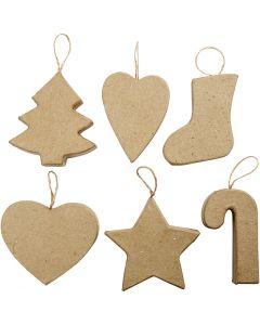 Adornos de Navidad, A: 7+8 cm, 6 ud/ 1 paquete