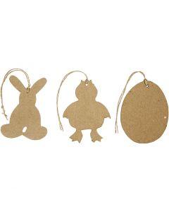 Decoración Pascua para colgar, conejo, pollo, huevo, A: 10 cm, 6 ud/ 1 paquete