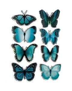 Pegatinas 3D, mariposa, medidas 20-35 mm, azul, 8 ud/ 1 paquete