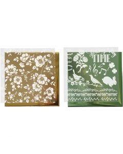 Foil con hoja de transferencia, Flores, 15x15 cm, dorado, verde, 2x2 hoja/ 1 paquete