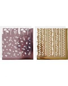 Foil con hoja de transferencia, 15x15 cm, 2x2 hoja/ 1 paquete