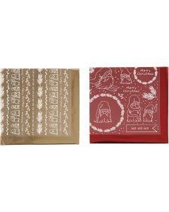 Foil con hoja de transferencia, Navidad tradicional, 15x15 cm, dorado, rojo, 2x2 hoja/ 1 paquete