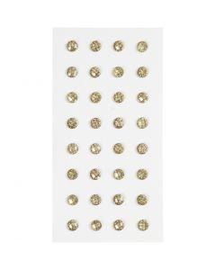 Diamantes de imitación, dia: 8 mm, dorado, 32 ud/ 1 paquete